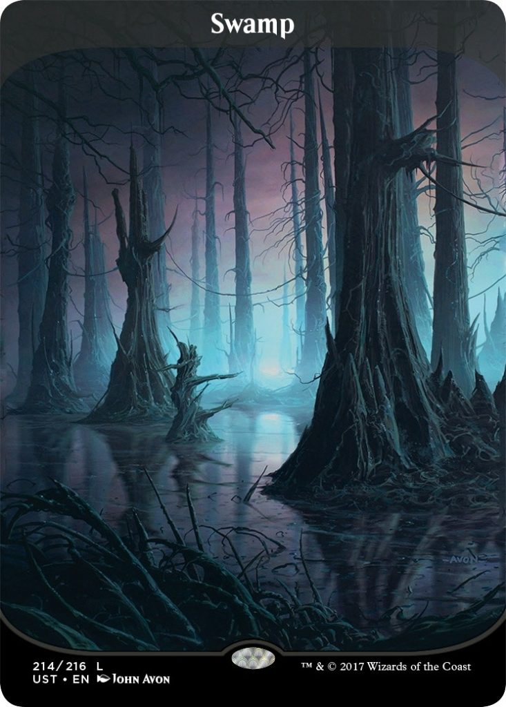 UN3 Full Art Borderless Swamp by John Avon