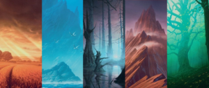 Unstable Full Art Borderless Basic Lands by John Avon