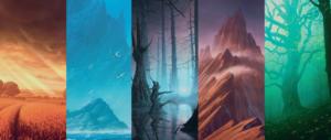 Unstable Full Art Borderless Basic Lands by John Avon